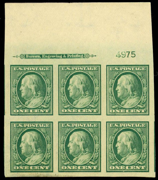 Value of US Stamp Scott 343 - 1908 1c Franklin Imperf. Daniel Kelleher Auctions, Mar 2013, Sale 635, Lot 455