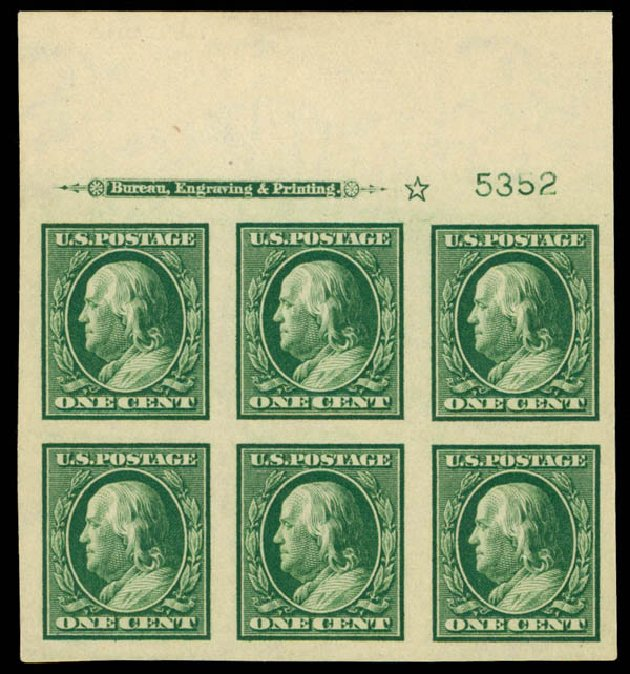 US Stamps Values Scott Cat. # 343 - 1c 1908 Franklin Imperf. Daniel Kelleher Auctions, Sep 2014, Sale 655, Lot 642