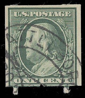 US Stamp Values Scott # 343: 1c 1908 Franklin Imperf. Daniel Kelleher Auctions, Aug 2015, Sale 672, Lot 2652