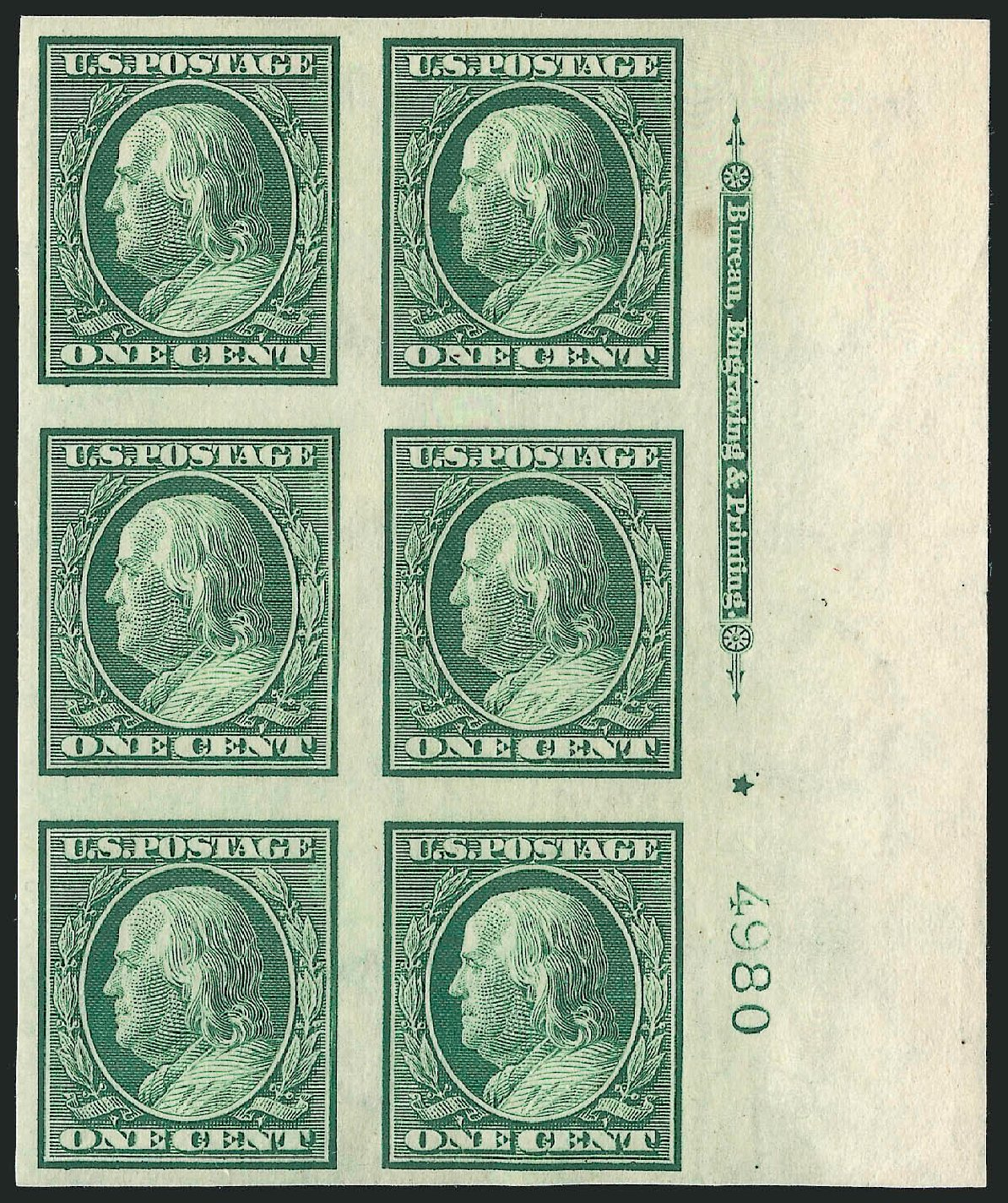 Value of US Stamps Scott Catalog #343 - 1908 1c Franklin Imperf. Robert Siegel Auction Galleries, Sep 2014, Sale 1078, Lot 482