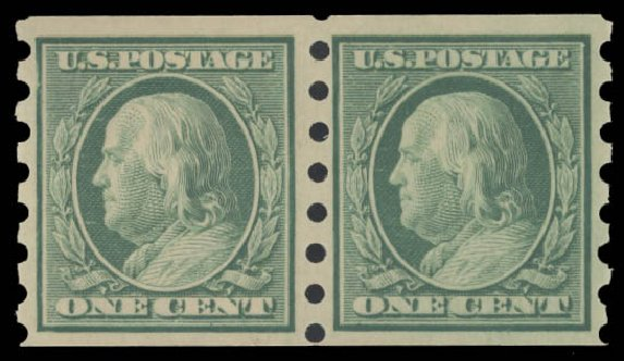 Costs of US Stamp Scott 343: 1908 1c Franklin Imperf. Daniel Kelleher Auctions, Aug 2015, Sale 672, Lot 2653