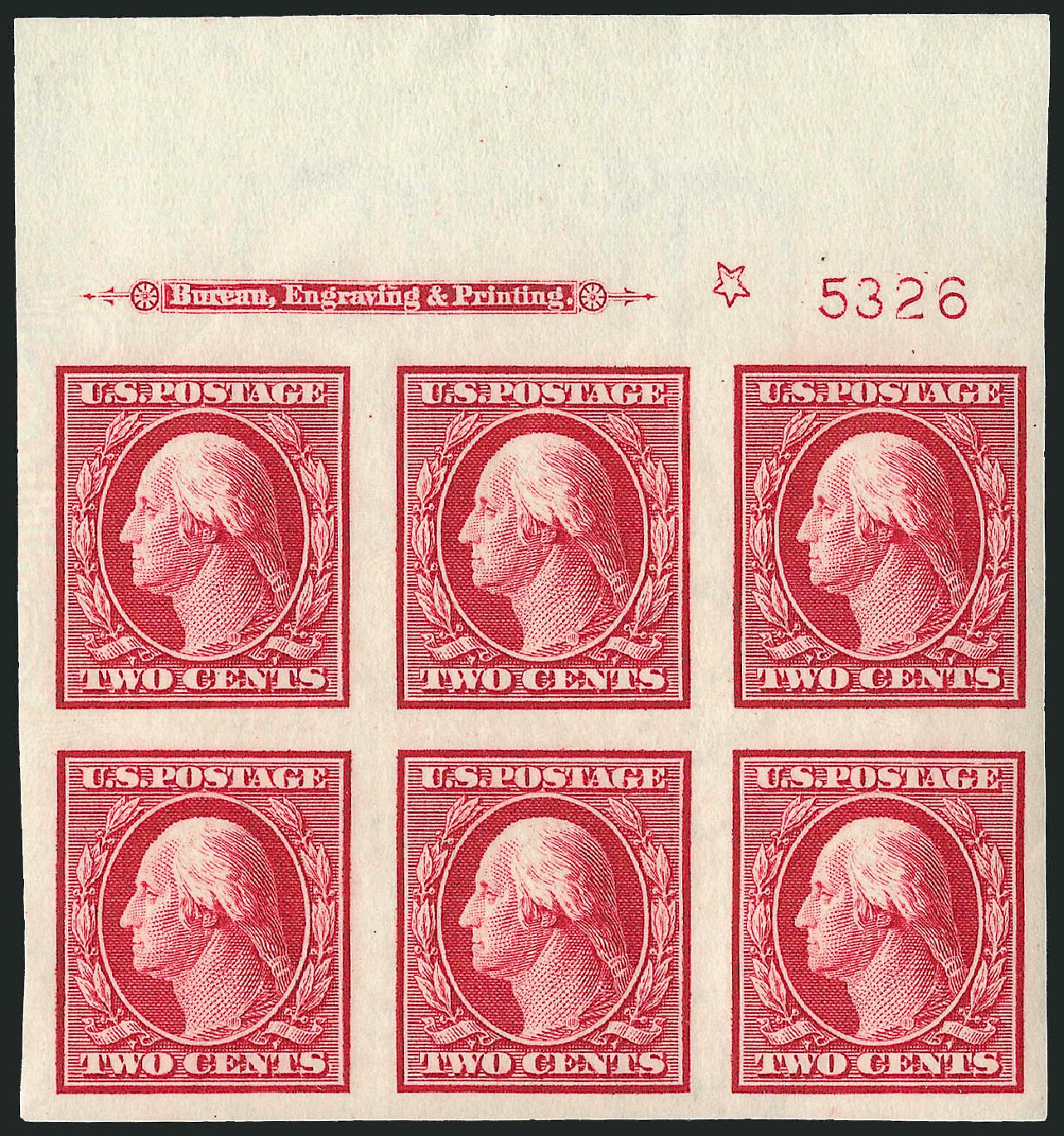 US Stamps Price Scott Cat. #344 - 1909 2c Washington Imperf. Robert Siegel Auction Galleries, Apr 2009, Sale 971, Lot 1538