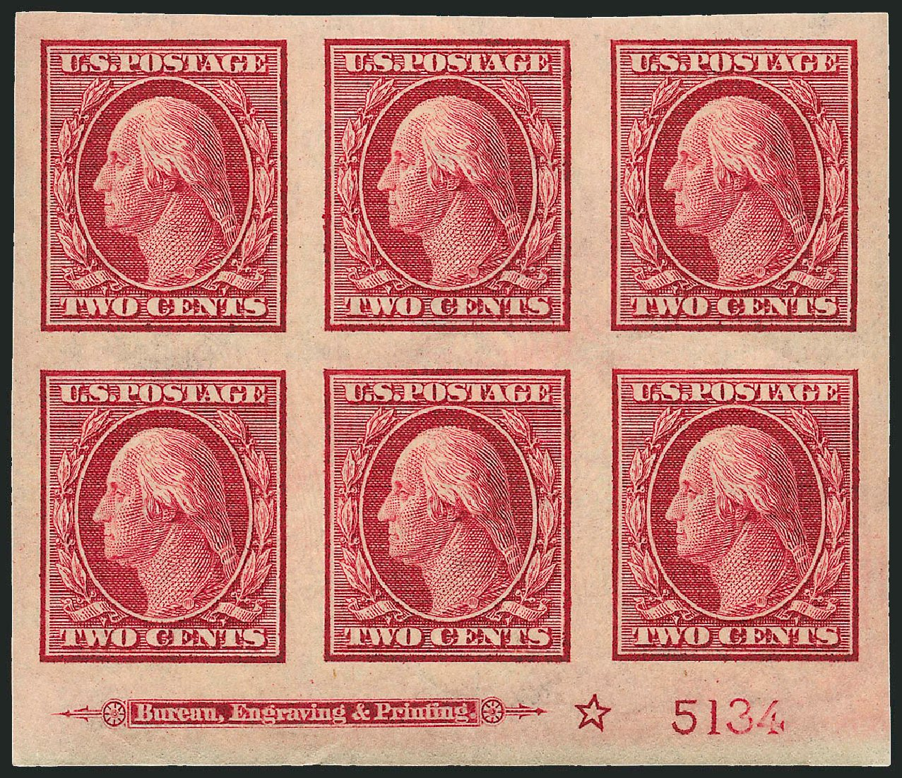US Stamp Price Scott #344: 1909 2c Washington Imperf. Robert Siegel Auction Galleries, Apr 2009, Sale 971, Lot 1535