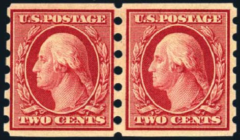 US Stamp Values Scott Catalog # 344: 1909 2c Washington Imperf. Harmer-Schau Auction Galleries, Aug 2011, Sale 90, Lot 1873
