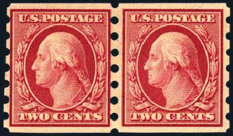 US Stamp Values Scott Catalog # 344: 1909 2c Washington Imperf. Harmer-Schau Auction Galleries, Aug 2011, Sale 90, Lot 1873
