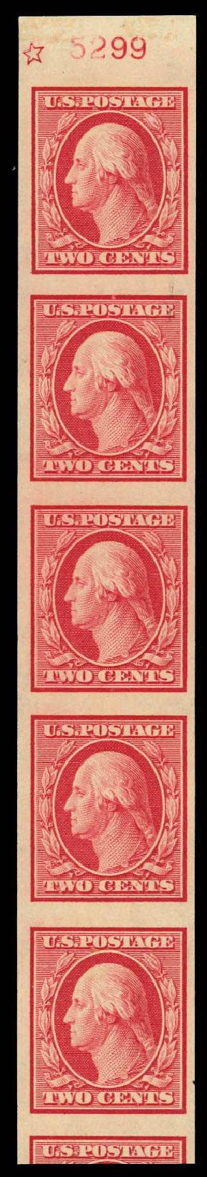 Prices of US Stamp Scott Catalogue 344 - 2c 1909 Washington Imperf. Daniel Kelleher Auctions, Aug 2012, Sale 631, Lot 1113