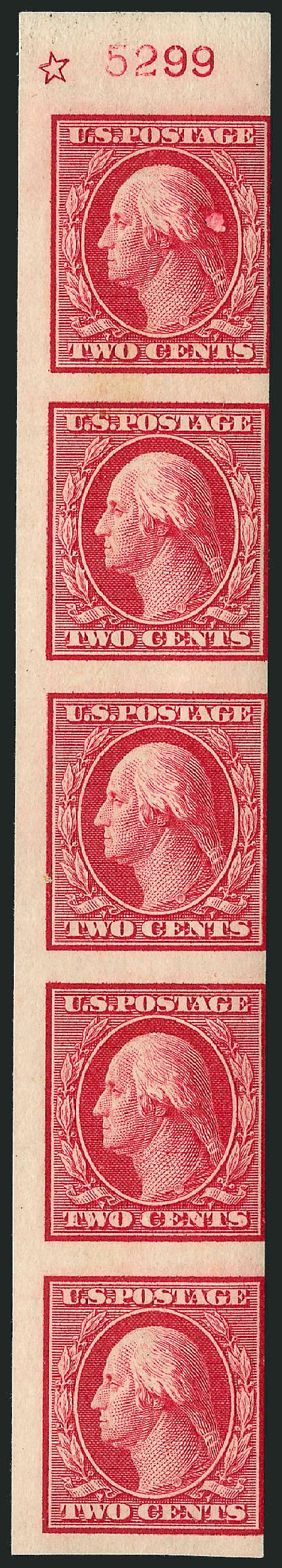 Values of US Stamps Scott 344: 1909 2c Washington Imperf. Robert Siegel Auction Galleries, Dec 2009, Sale 982, Lot 5736