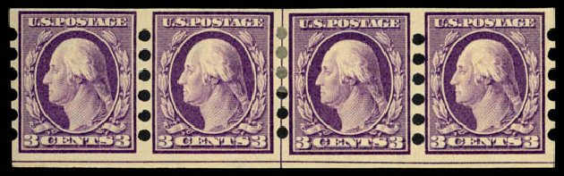 US Stamp Value Scott 345: 3c 1909 Washington Imperf. Daniel Kelleher Auctions, Jan 2015, Sale 663, Lot 1692