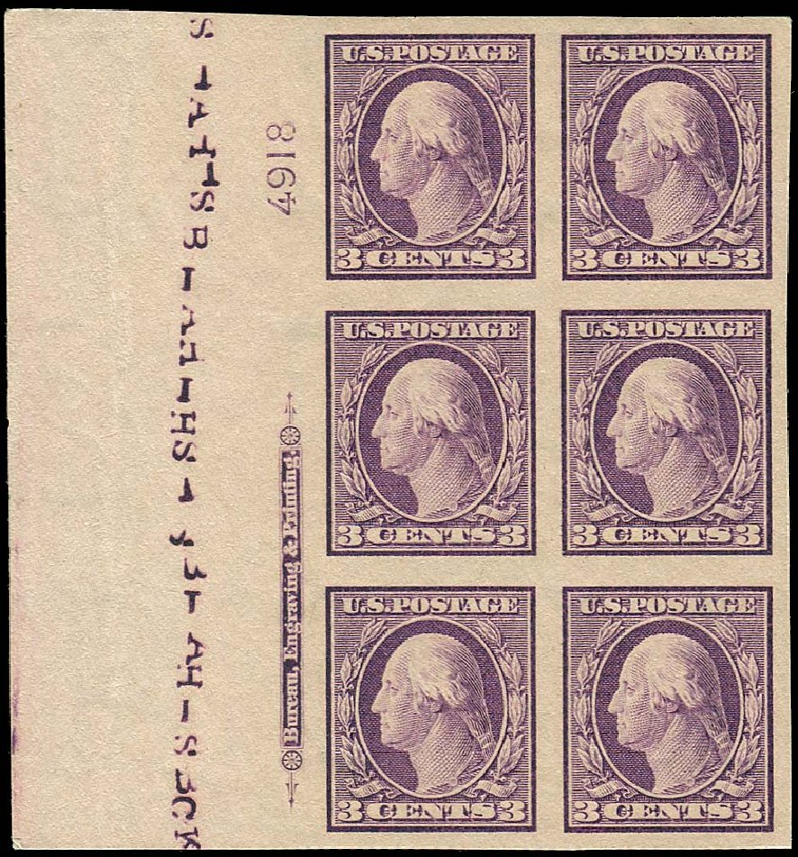 US Stamp Prices Scott Catalogue # 345: 1909 3c Washington Imperf. Regency-Superior, Nov 2014, Sale 108, Lot 1302