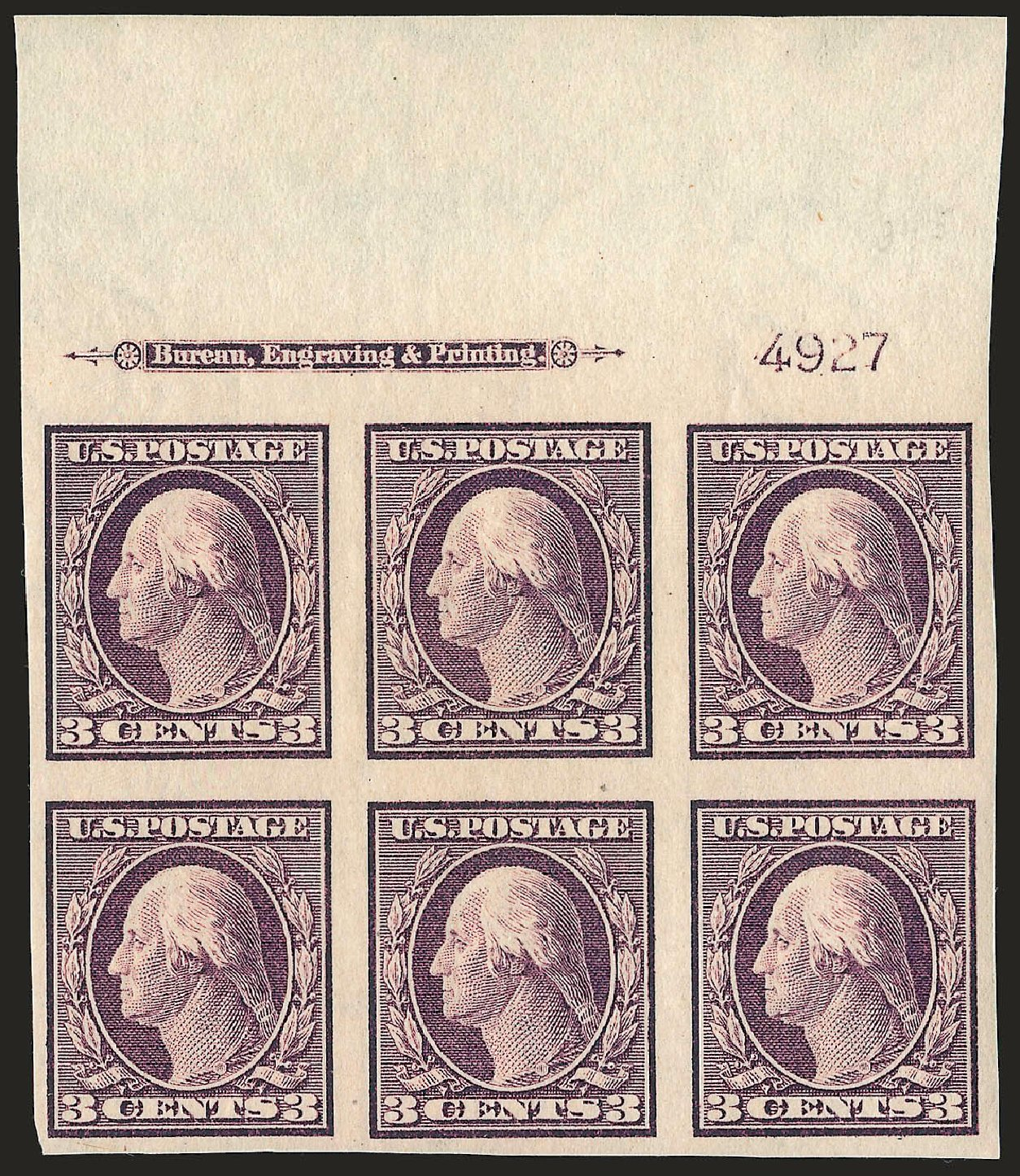 US Stamps Value Scott Catalogue # 345 - 1909 3c Washington Imperf. Robert Siegel Auction Galleries, Apr 2009, Sale 971, Lot 1542
