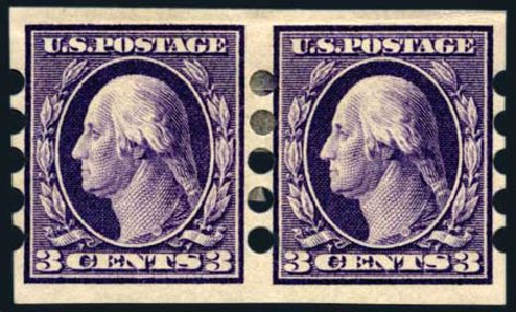 US Stamp Price Scott Catalog 345: 1909 3c Washington Imperf. Harmer-Schau Auction Galleries, Aug 2011, Sale 90, Lot 1876