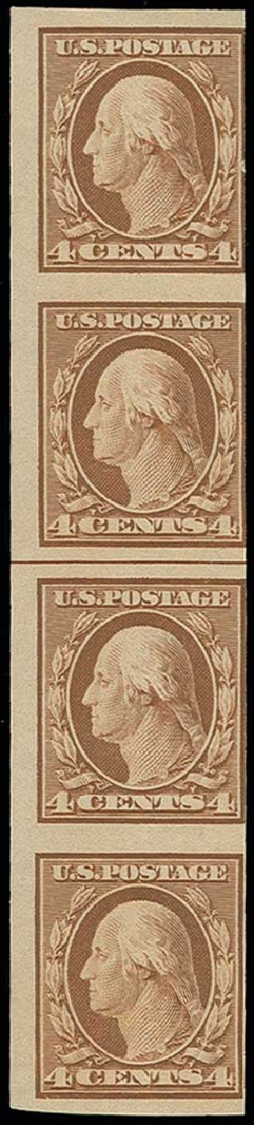 US Stamps Values Scott Cat. # 346: 1909 4c Washington Imperf. H.R. Harmer, Jun 2013, Sale 3003, Lot 1247