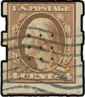US Stamp Price Scott Catalogue #346: 1909 4c Washington Imperf. H.R. Harmer, Oct 2014, Sale 3006, Lot 1328