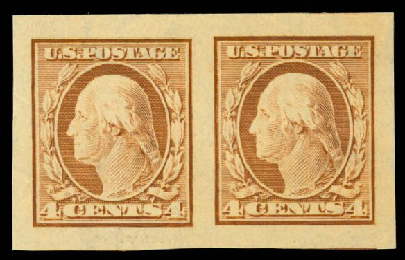 US Stamp Price Scott Catalog #346 - 4c 1909 Washington Imperf. Daniel Kelleher Auctions, Mar 2013, Sale 635, Lot 460