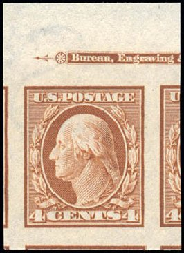 Values of US Stamps Scott Catalog # 346: 4c 1909 Washington Imperf. Schuyler J. Rumsey Philatelic Auctions, Apr 2015, Sale 60, Lot 2335
