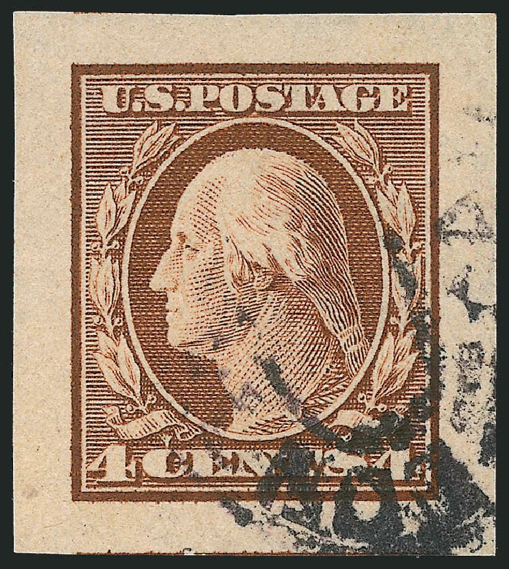 US Stamp Value Scott # 346: 4c 1909 Washington Imperf. Robert Siegel Auction Galleries, Jul 2013, Sale 1050, Lot 492
