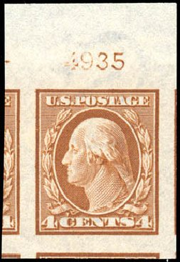 Values of US Stamps Scott Catalog #346: 1909 4c Washington Imperf. Schuyler J. Rumsey Philatelic Auctions, Apr 2015, Sale 60, Lot 2796