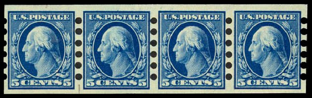 US Stamp Values Scott 347: 1909 5c Washington Imperf. Daniel Kelleher Auctions, May 2015, Sale 669, Lot 2897