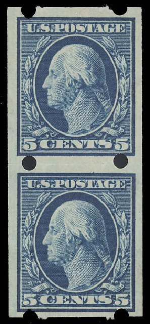 US Stamps Price Scott Catalog 347 - 1909 5c Washington Imperf. Daniel Kelleher Auctions, Aug 2015, Sale 672, Lot 2657