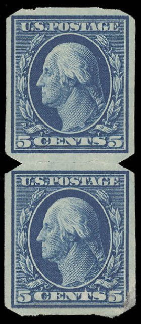 US Stamp Price Scott Cat. 347 - 1909 5c Washington Imperf. Daniel Kelleher Auctions, Aug 2015, Sale 672, Lot 2658