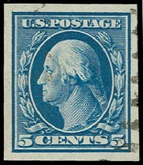 Values of US Stamp Scott Catalogue #347 - 5c 1909 Washington Imperf. H.R. Harmer, Oct 2014, Sale 3006, Lot 1329