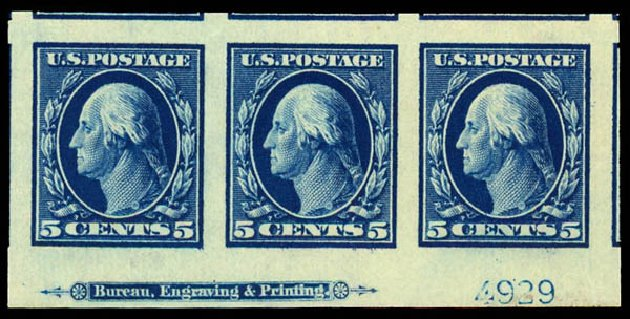 Values of US Stamp Scott 347 - 1909 5c Washington Imperf. Daniel Kelleher Auctions, Dec 2012, Sale 633, Lot 619