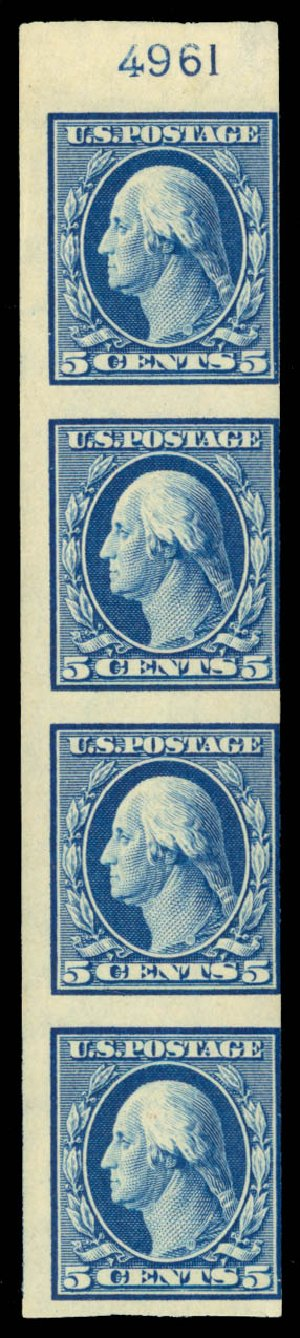 Values of US Stamps Scott Catalogue 347 - 5c 1909 Washington Imperf. Daniel Kelleher Auctions, Sep 2014, Sale 655, Lot 410