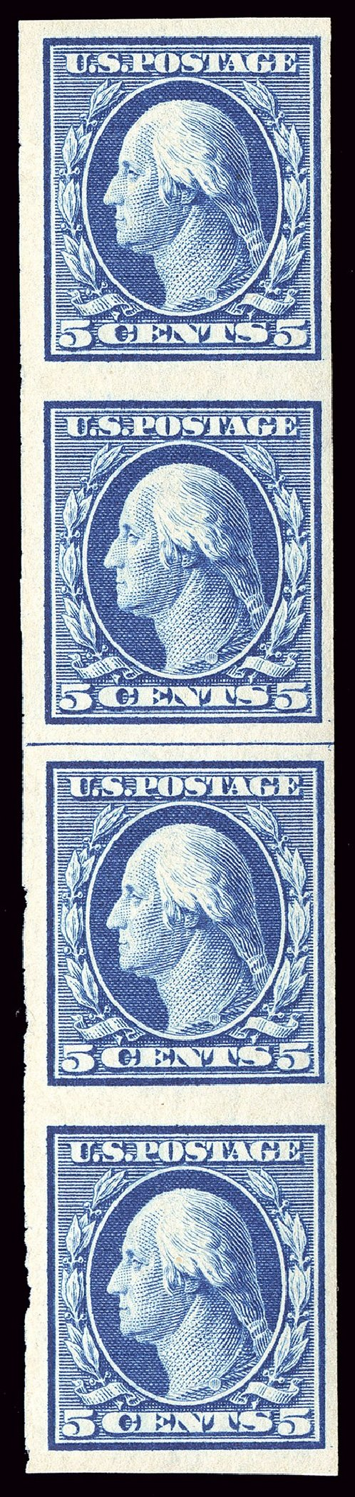 US Stamps Price Scott Cat. #347 - 1909 5c Washington Imperf. Spink Shreves Galleries, Jan 2014, Sale 146, Lot 371
