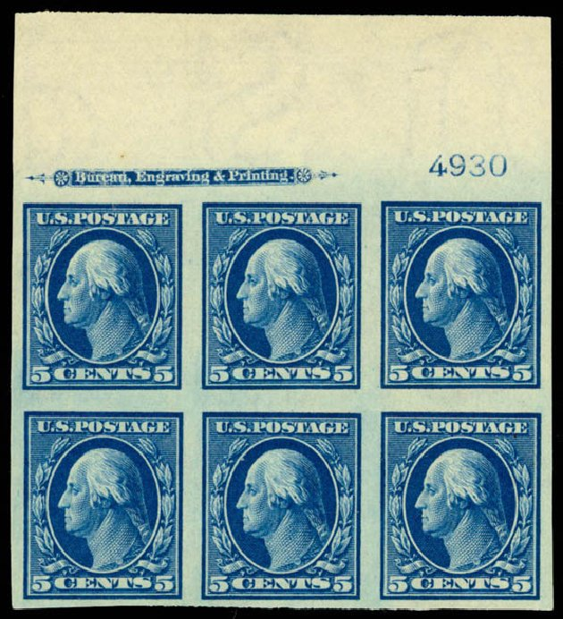 US Stamp Values Scott Catalog 347: 5c 1909 Washington Imperf. Daniel Kelleher Auctions, Apr 2013, Sale 636, Lot 312