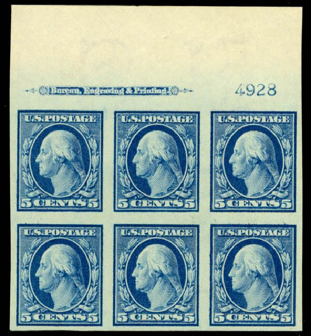 Costs of US Stamps Scott Cat. # 347 - 1909 5c Washington Imperf. Daniel Kelleher Auctions, Sep 2014, Sale 655, Lot 646