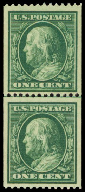 US Stamps Price Scott Catalogue # 348 - 1c 1908 Franklin Coil. Daniel Kelleher Auctions, May 2015, Sale 669, Lot 2898