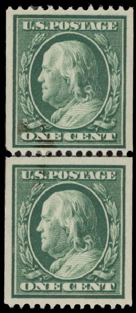 US Stamp Values Scott 348: 1c 1908 Franklin Coil. Daniel Kelleher Auctions, May 2015, Sale 669, Lot 2899