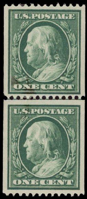 US Stamp Values Scott 348: 1c 1908 Franklin Coil. Daniel Kelleher Auctions, May 2015, Sale 669, Lot 2899