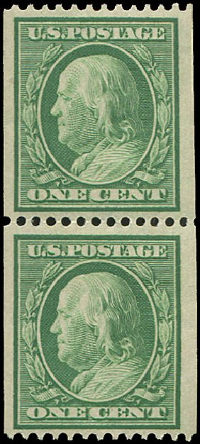 US Stamps Value Scott Catalogue 348 - 1c 1908 Franklin Coil. Regency-Superior, Aug 2015, Sale 112, Lot 729