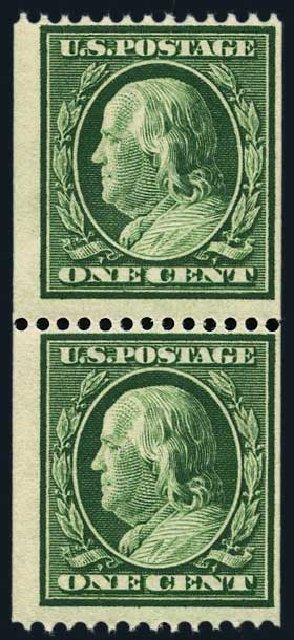 US Stamps Value Scott #348 - 1c 1908 Franklin Coil. Harmer-Schau Auction Galleries, May 2015, Sale 105, Lot 160