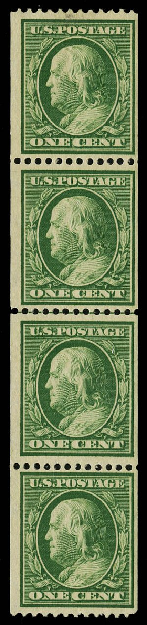 Costs of US Stamps Scott Cat. 348: 1c 1908 Franklin Coil. Daniel Kelleher Auctions, May 2015, Sale 669, Lot 2900