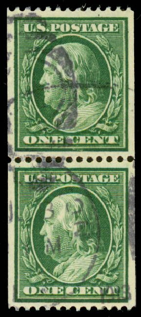 Costs of US Stamps Scott 348 - 1c 1908 Franklin Coil. Daniel Kelleher Auctions, Aug 2015, Sale 672, Lot 2660