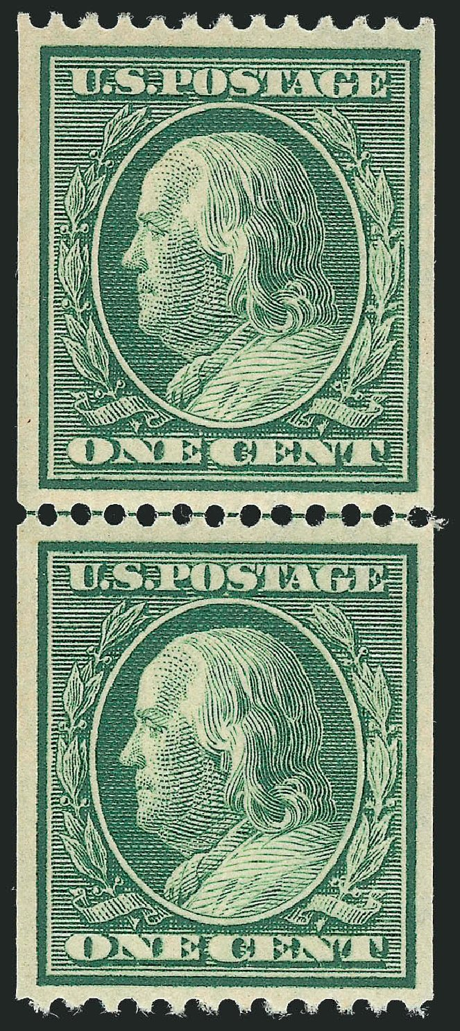 US Stamps Value Scott Catalog #348 - 1c 1908 Franklin Coil. Robert Siegel Auction Galleries, Feb 2015, Sale 1093, Lot 110