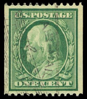 Prices of US Stamps Scott Catalog #348 - 1908 1c Franklin Coil. Daniel Kelleher Auctions, Dec 2014, Sale 661, Lot 301