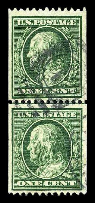 Prices of US Stamps Scott Cat. 348: 1c 1908 Franklin Coil. Harmer-Schau Auction Galleries, Aug 2015, Sale 106, Lot 1764