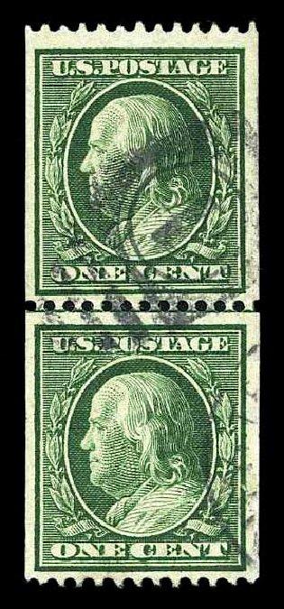 Prices of US Stamps Scott Cat. 348: 1c 1908 Franklin Coil. Harmer-Schau Auction Galleries, Aug 2015, Sale 106, Lot 1764