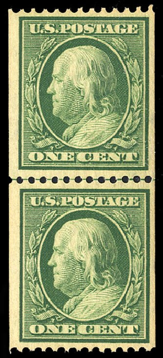 US Stamp Price Scott Cat. # 348: 1908 1c Franklin Coil. Cherrystone Auctions, Jul 2015, Sale 201507, Lot 73