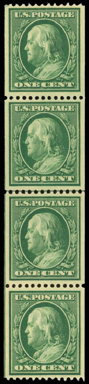Price of US Stamps Scott Catalog # 348: 1908 1c Franklin Coil. Daniel Kelleher Auctions, Jan 2015, Sale 663, Lot 1693