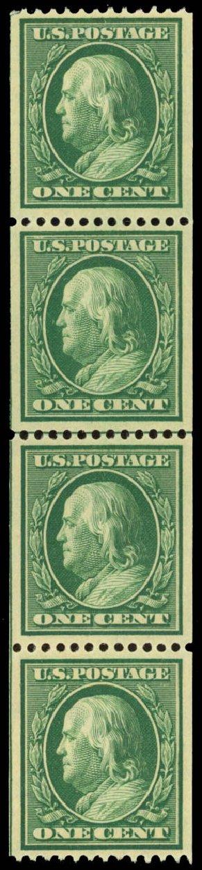 Price of US Stamps Scott Catalog # 348: 1908 1c Franklin Coil. Daniel Kelleher Auctions, Jan 2015, Sale 663, Lot 1693