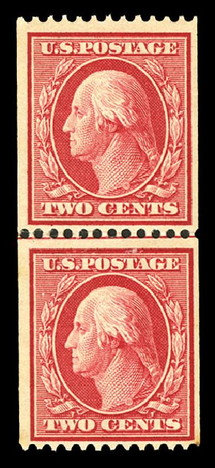 US Stamp Value Scott Catalogue #349 - 1909 2c Washington Coil. Cherrystone Auctions, Jul 2015, Sale 201507, Lot 2120