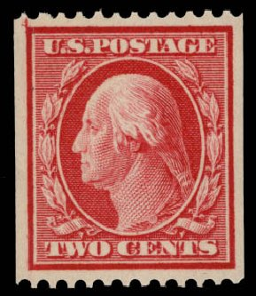US Stamps Values Scott Catalogue #349 - 1909 2c Washington Coil. Daniel Kelleher Auctions, May 2015, Sale 669, Lot 2901