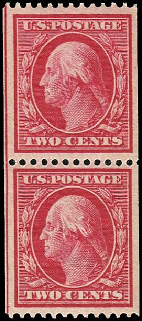 US Stamps Values Scott Catalogue 349 - 1909 2c Washington Coil. Regency-Superior, Nov 2014, Sale 108, Lot 731