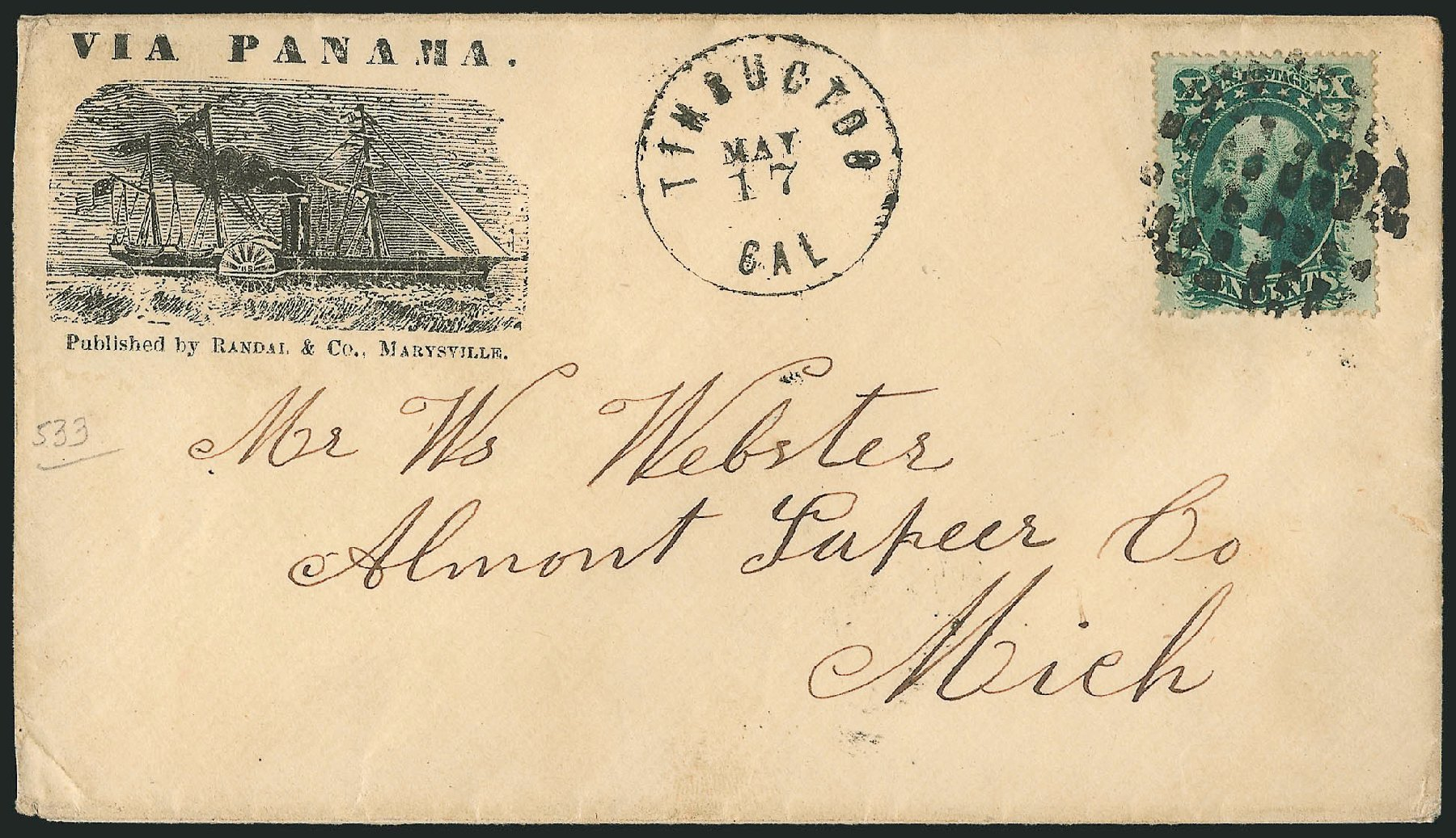 US Stamp Value Scott Catalog # 35: 1859 10c Washington. Robert Siegel Auction Galleries, Jun 2015, Sale 1106, Lot 3068