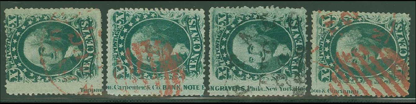 Prices of US Stamps Scott Catalog 35 - 1859 10c Washington. H.R. Harmer, Jun 2015, Sale 3007, Lot 3125