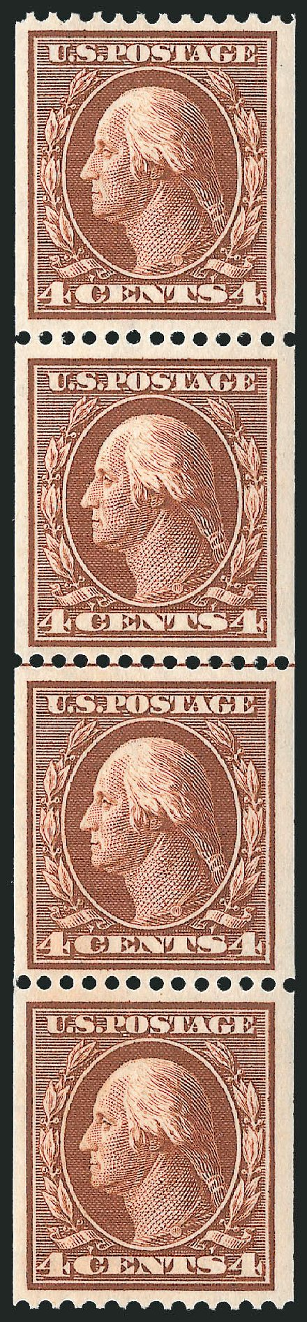 US Stamps Price Scott Cat. #350 - 4c 1910 Washington Coil. Robert Siegel Auction Galleries, Feb 2015, Sale 1093, Lot 117